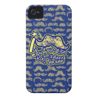 I mustache you a question blue & yellow iPhone 4 cover