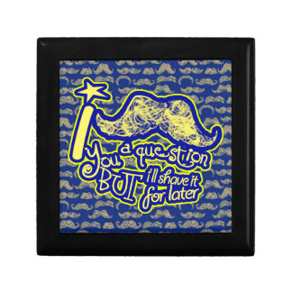I mustache you a question blue & yellow jewelry box