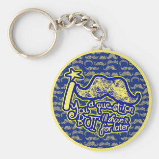 I mustache you a question blue & yellow keychain