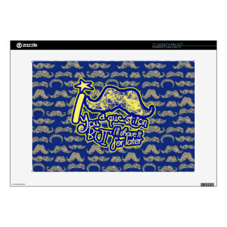 I mustache you a question blue & yellow laptop skin