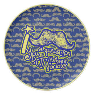 I mustache you a question blue & yellow melamine plate