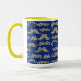 I mustache you a question blue & yellow mug