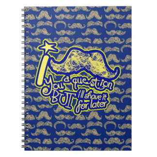 I mustache you a question blue & yellow notebook
