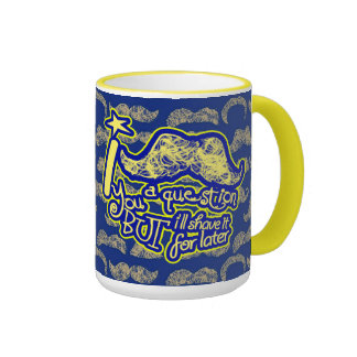 I mustache you a question blue & yellow ringer mug