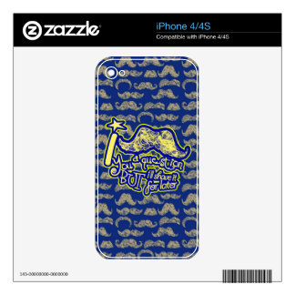 I mustache you a question blue & yellow skins for iPhone 4S