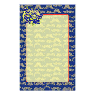 I mustache you a question blue & yellow stationery