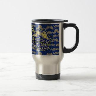 I mustache you a question blue & yellow travel mug