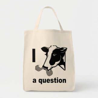 I Mustache You A Question - Cow Humor Canvas Bags