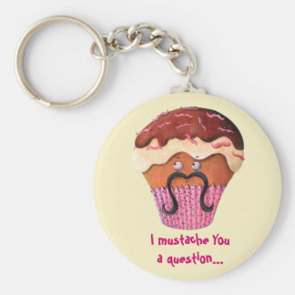 I Mustache you a question Cupcake Keychain