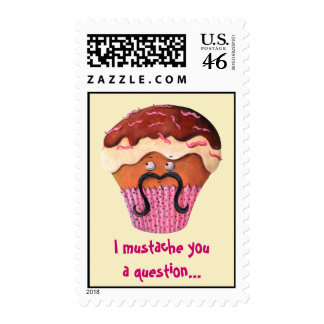I Mustache you a question Cupcake Stamp