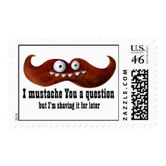 I Mustache You A Question -custom txt- Postage Stamp