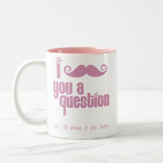 I mustache you a question (distressed) Two-Tone coffee mug