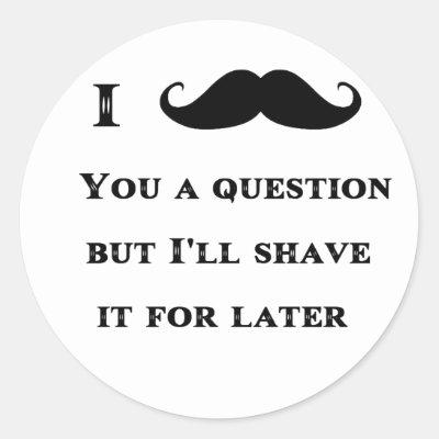 Funny black handlebar mustache moustache pink classic round sticker zazzle com