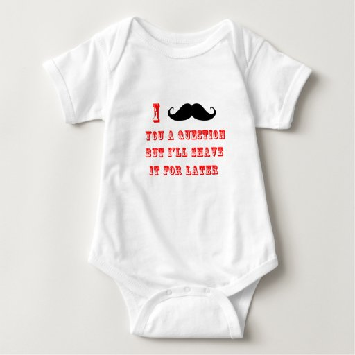 I Mustache You a Question Funny Image Red Black Baby Bodysuit