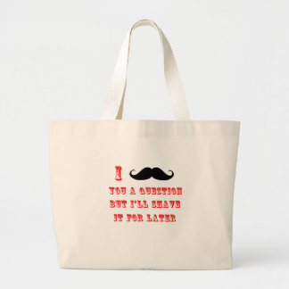 I Mustache You a Question Funny Image Red Black Canvas Bag