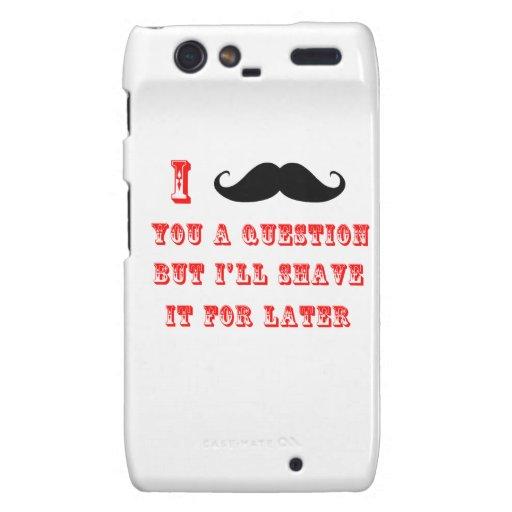 I Mustache You a Question Funny Image Red Black Motorola Droid RAZR Case