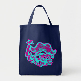 I mustache you a question funny pink & light blue tote bag