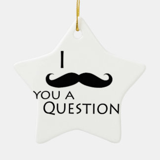 I mustache you a question Double-Sided star ceramic christmas ornament