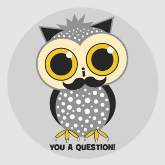 I mustache you a question owl classic round sticker
