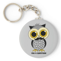 I mustache you a question owl keychain