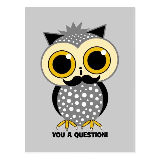 I mustache you a question owl postcard