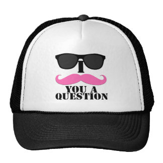I Mustache You A Question Pink with Sunglasses Trucker Hat