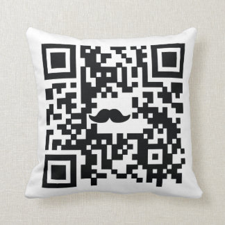 """I Mustache You A Question"" QR Code Pillow"
