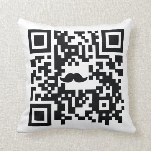 """I Mustache You A Question"" QR Code Pillow"