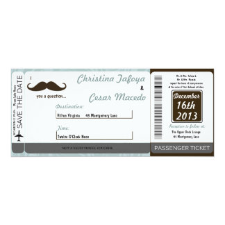 I Mustache You Boarding Pass Wedding Invitation