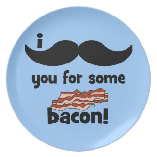 I mustache you for some bacon dinner plate