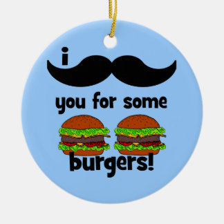 I mustache you for some burgers! Double-Sided ceramic round christmas ornament
