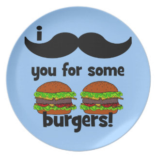 I mustache you for some burgers! dinner plates