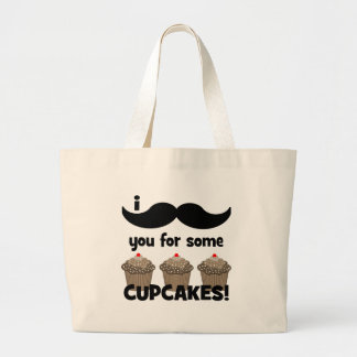 I mustache you for some cupcakes canvas bag