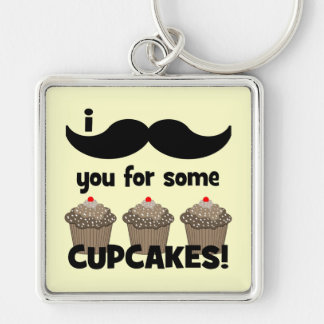 I mustache you for some cupcakes key chain