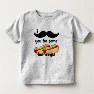 I mustache you for some hot dogs! toddler t-shirt
