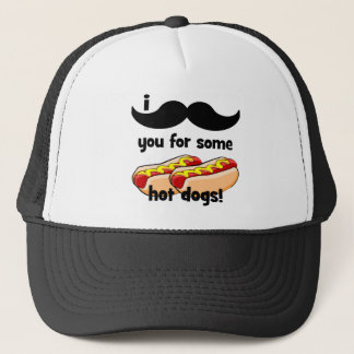 I mustache you for some hot dogs! trucker hat