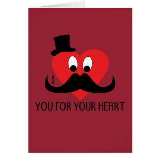 I mustache you for your heart Valentine's day Red Card