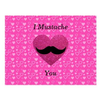 I mustache you hearts postcard