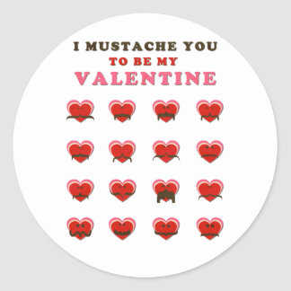 I Mustache You to be my Valentine Classic Round Sticker