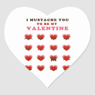 I Mustache You to be my Valentine Heart Sticker