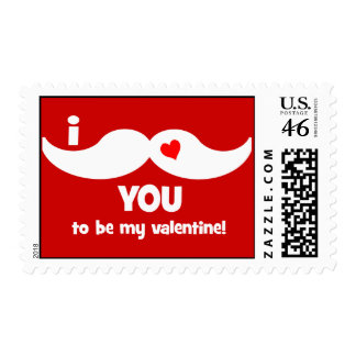 I mustache you to be my valentine postage stamp