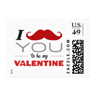 I Mustache You To Be My Valentine Postage