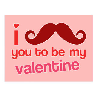 i mustache you to be my valentine postcard