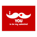 I mustache you to be my valentine! postcards