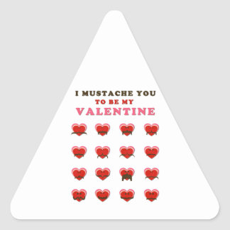 I Mustache You to be my Valentine Triangle Sticker