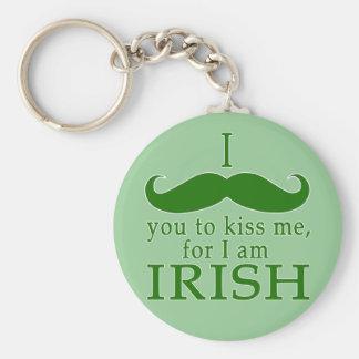 I Mustache You to Kiss Me I'm Irish! Key Chain