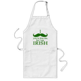 I Mustache You to Kiss Me I'm Irish! Long Apron