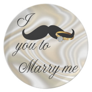 I Mustache you -to Marry Me Melamine Plate
