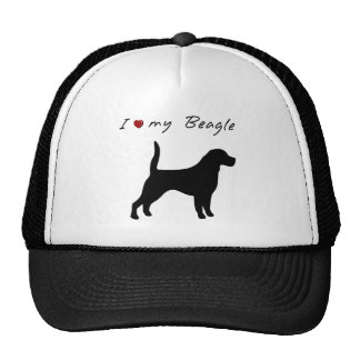I ❤ my  Beagle with  dog silhouette Trucker Hat