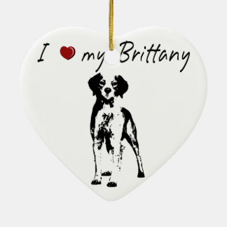 I ❤ my  Brittany words & lovely graphic! Ceramic Ornament